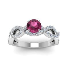 Colored Intertwined Sapphire Engagement Rings for Women on Sale with Pink Sapphire in 18K White Gold exclusively styled by Fascinating Diamonds