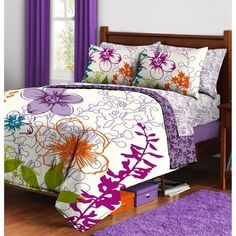 PURPLE Flowers COMFORTER+SHEETS+SHAM SET Dorm Teen Kids Room Girls Bedding Room #Contemporary