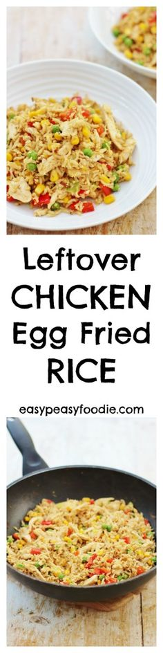 An easy, quick and family friendly meal, Leftover Chicken and Egg Fried Rice is perfect for a busy weeknight and a great way to use up your roast chicken leftovers…No leftover chicken? No problem. Read on to find out how to 'create' some leftovers… #leftover #chicken #egg #fried #rice #chinese #15minutes #easydinners #midweekmeals