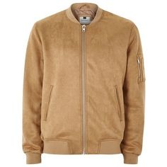 TOPMAN Tan Faux Suede Bomber Jacket ($64) ❤ liked on Polyvore featuring men's fashion, men's clothing, men's outerwear, men's jackets, topman mens jackets, mens bomber jacket, mens faux suede jacket, mens tan jacket and mens fur collar bomber jacket