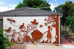 Laser cut 'vegetables' wall art designed by the students at Southmoor Primary School. Outdoor Metal Wall Art, Large Metal Wall Art, Metal Garden Art, Metal Wall Decor, Wall Art Designs, Wall Design, Custom Metal Art, Laser Cut Metal, Melbourne House