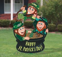 St. Patricks Leprechaun Trio in Pot of Gold Wood Yard Art Decoration, Lawn Decoration. $70.00, via Etsy.