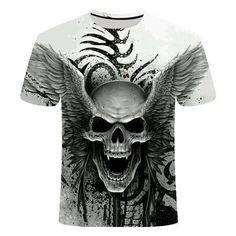 Skull Reaper T-Shirt | Skullflow Skull Shirts, 3d T Shirts, Cheap T Shirts, Streetwear Summer, Skull Fashion, Harajuku Fashion, Harajuku Style, Skull Print, Short Sleeve Tee