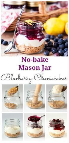 Perfectly Portable Picnic puddings - no-bake blueberry mason jar cheesecakes. Easily made gluten-free too.