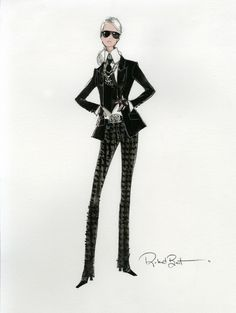 Karl Lagerfeld - Barbie Lagerfeld - Sketch - http://olschis-world.de/  #KarlLagerfeld #Barbie #Sketch