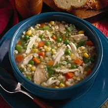 Enjoy this delicious Roaster Barley Soup recipe from Perdue. Soup Recipes, Cooking Recipes, Healthy Recipes, Chicken Recipes, Recipies, Oven Recipes, Healthy Meals, Healthy Food, Chicken Barley Soup