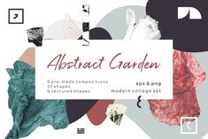 This collection of abstract art shapes, floral leaves and botanical elements. Inspired by contemporary and impressionism styles. Included 6 compositions and 33 Graphic Design Trends, Web Design, Abstract Shapes, Abstract Art, Conference Branding, Cs6 Photoshop, Shape Collage, Love My Family, Botanical Illustration