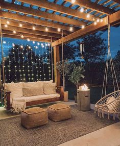 the lights in this photo bring a lot of harmony to it. All the colors are also light and calming. Balkon Design, Backyard Patio Designs, Small Backyard Patio, Small Backyard Design, Pergola Designs, Sloped Backyard Landscaping, Wood Deck Designs, Small Balcony Garden, Small Balcony Decor