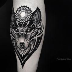 done.. #twinmonkeytattoo #tribal #blackwork #tattoo #tattoos #tattoolife #ink #inked #wolf #face #blackworkers #iblackwork #tatuaje #intenzeink #line #geometric (at Twin Monkey Tattoo Studio)