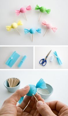 If you feel like doing a project, you can try to create these candies made with crepe paper and styrofoam balls.