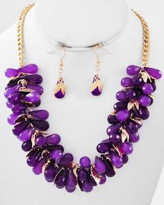 Gold Tone / Purple Acrylic / Lead Compliant / Leaf / Cluster Style / Necklace & Fish Hook Earring Set