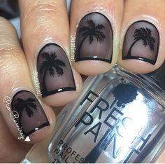 See thru black Palm tree nails