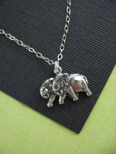 Elephant Couple Strolling Charm Necklace in STERLING SILVER