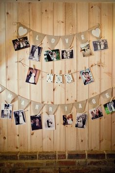 rustic wedding photo display idea / http://www.deerpearlflowers.com/wedding-photo-display-ideas/