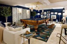 Designer Bradley Stephens featured: 4563 Lacquered Strie color Navy on walls, 4612 Woven Leather color Putty on ceiling and 5170 Voyage Collection Rings color Navy on Ivory Manila Hemp on screen, in the game room of the 2010 Hampton Designer Showhouse. Billards Room, Pool Table Room, Pool Tables, Game Room Basement, Basement Ideas, Playroom, Living Pool, Sweet Home, Navy Walls