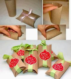 Toilet Paper Roll Crafts for Christmas! How To Make Gift Boxes out of cardboard toilet paper rolls - CREATIVE and Simple! Small Gift Boxes, Small Gifts, Christmas Wrapping, Christmas Crafts, Christmas Decorations, Craft Decorations, Christmas Boxes, Christmas Packages, Christmas Ideas