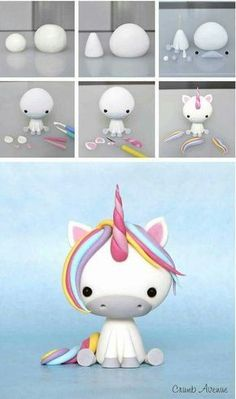 Clay unicorn but could use to make a fondant unicorn Baby Unicorn Tutorial More Baby Unicorn Tutorial - omg this is the cutest thing ever! photo tutorial - make a rainbow unicorn from fimo / polymer clay / flower paste / icing step by step guide for sitti Polymer Clay Projects, Polymer Clay Creations, Diy Clay, Fondant Figures, Clay Figures, Cake Fondant, Fondant Tutorial, Fondant Animals Tutorial, Cake Topper Tutorial