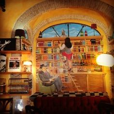 Wonderful bookbar with an amazing coffee in a very chilly atmosphere. Check it out. Where To Go, Check It Out, Coffee, Amazing, Painting, Art, Kaffee, Art Background, Painting Art