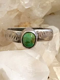 Stamp Decorated Turquoise Ring Stacking Sterling Silver