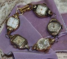 connecting old watches to create a bracelet, It was an easy project with jump rings holding the watches together and a closure attached to the end.