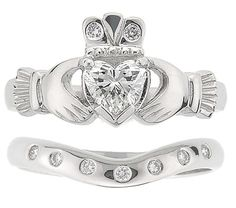 Heart Diamond Claddagh Engagement Ring forever080108