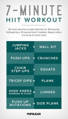7-Minute HIIT Workout Printable Poster | POPSUGAR Fitness