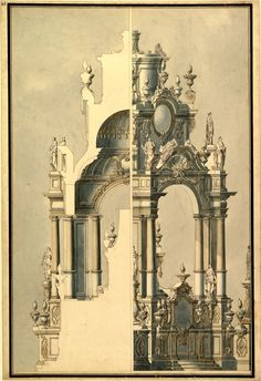 Elevation and section for a catafalque for the Dauphin of France