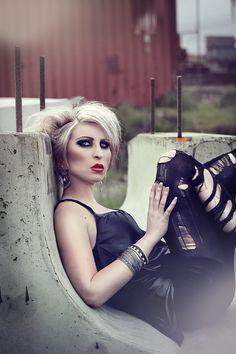 grunge photography black dress red lips