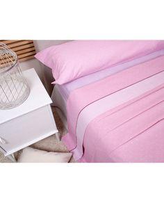 Bonito juego de sábanas con estampado en color rosa de rayas y lunares a un precio muy barato. Todas las medidas de cama. Revitex online especialistas en sábanas
