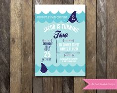 PRINTABLE Shark Birthday Invitation Nautical Invitation - Shark Birthday Invite Fully Customizable -  Girls Boys Birthday Party 4x6 or 5x7