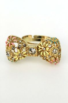 bow ring w/floral detail $6