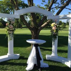 Arch At Naperville Country Club White And Pink Flower Mix With Hydrangeas And Roses Outdoor Ceremony, Wedding Ceremony, Outdoor Decor, Boutique, Hydrangeas, Pink Flowers, Special Events, Floral, This Is Us