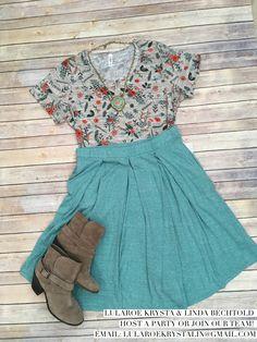 Printed classic Tee & Heathered Madison Skirt LuLaRoe outfit inspiration flat lay photography fashion 2017