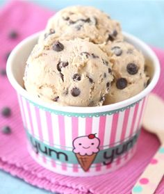Easy to make Chocolate Chunk Cookie Dough Frozen Yogurt - with step by step stages in photos