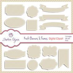 Kraft Banners & Frames Digital Clipart, Instant Download, Natural, Tan, Burlap, Linen Labels         March 04, 2014 at 02:19PM