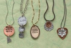 stamped pendants by Lisa Niven Kelly - from A Stamper's Dozen: 13+ Ideas for Stamping Metal Jewelry and Personalized Gifts - Jewelry Making Daily #handmadegifts #handmadeholiday #diygifts