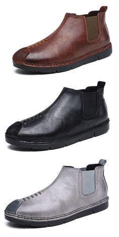 Men Retro British Style Stitching Elastic Panels Cap Toe Casusl Ankle Boots