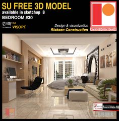 Free sketchup model bedroom 30 by Ricksen Construction Interior Design Courses, Interior Design Images, Sketchup Model, Sketchup Free, Vray Tutorials, Pinterest Decorating, Material Design, Office Interiors, Modern Bedroom