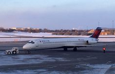 Delta flight 2014, the final scheduled DC-9 (reg N773NC) flight, pushed back from the gate at MSP