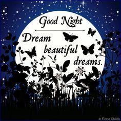 Good Night. Dream beautiful dreams. Bonne nuit.