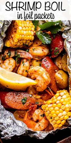 ThisGrilled Shrimp Boil in Foil Packetsis a flavor-packed meal that's easy to make on the grill or in the oven! This hearty dinner is filled with perfectly seasoned potatoes, shrimp, sausage, and corn. #grilling #shrimpboil #campingrecipes Seafood Boil Recipes, Shrimp Recipes For Dinner, Shrimp Recipes Easy, Seafood Dishes, Fish Recipes, Recipe For Shrimp Boil, Grilled Dinner Ideas, Chicken Recipes, Vintage Posters