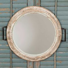 This charming mirror has the look of an antique tea tray that has been made into a mirror. Ideal for a powder room, small entry, or as a grouping on a wall. x x Wood frame, glass mirror. Hangs with two keyhole hangers. Bathroom Mirror With Shelf, Wood Framed Mirror, Wall Mirror, Framed Wall, Distressed Mirror, Rustic Wall Decor, Farmhouse Decor, Farmhouse Style, Farmhouse Mirrors