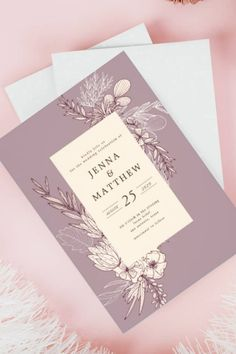 This modern Wedding Invitation features a stencil botanicals and floral design with creme over blush pink, light plum background and it is part of a suit collection of wedding stationery invites with the same color pallet and design style.