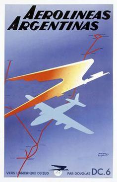 Argentina, travel poster, Aerolíneas Argentinas, routes