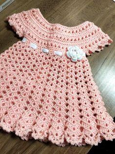 ideas for baby girl crochet dress inspiration Baby Girl Pink Dress, Crochet Dress Girl, Crochet Baby Dress Pattern, Crochet Baby Clothes, Baby Girl Crochet, Crochet Baby Shoes, Crochet Patterns, Crochet Ideas, Hat Crochet