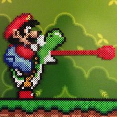 Mario and Yoshi perler beads by honey.beads
