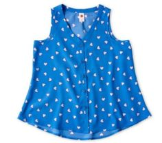 Total Girl Sleeveless Button-Front Top  - Large (10/12) NWT  #TotalGirl #Everyday