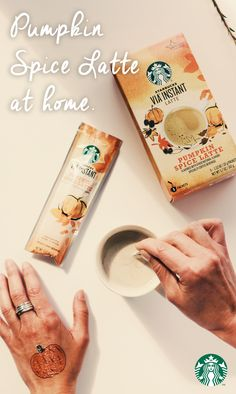 Starbucks VIA Instant Pumpkin Spice Latte: Grab a favorite mug, tear open a single-serving packet, add 8 fl oz of hot water, add contents of packet, and stir up the flavors of cinnamon, nutmeg, cloves, and 100% arabica coffee. Shop now to make a PSL at home.