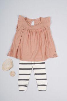 striped leggings + ruffly dress