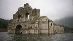 A 16th Century church has emerged from under the surface of a reservoir in Mexico as water levels drop due to a recent drought.